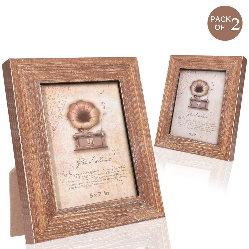 TNELTUEB 2Pack 5x7 Picture Frame Solid Wood Frames, Brown Wood Grain Distressed 100% Natural Wooden Photo Frame for Wall Mount or Table for Wedding Family Best Friends Photo Frames by TNELTUEB