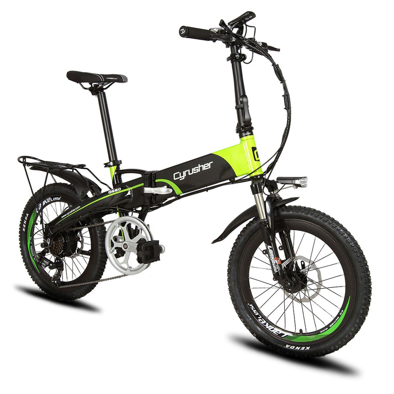 Excy(エクシ) XF500 自転車 折りたたみ MTB 250W 48V * 10Aリチウム電池(フレームに隠し) 20インチ超軽量 シマノ7段変速 マウンテンバイク サスペンション荷台付 自転車  グリーン B07DRB3QBH