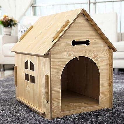 WX-WX Productos para Mascotas Gatos y Perros Habitación/Casa de Madera Maciza Cuatro