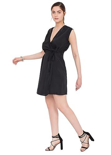 Wrap dress schiena scoperta nero Lara