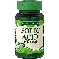 Nature's Truth Folic Acid 800 mcg | 250 Tablets | Vegetarian, Non-GMO & Gluten Free