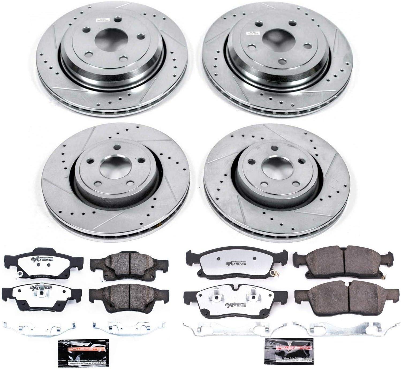 Power Stop K4062 Front /& Rear Brake Kit with Drilled//Slotted Brake Rotors and Z23 Evolution Ceramic Brake Pads