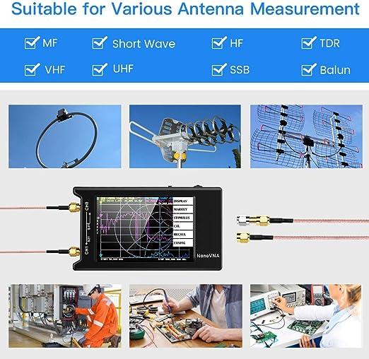 Elikliv Analizador de red vectorial Elikliv 10k-1.5GHz HF VHF UHFanalizador de antena portátil con pantalla de 4