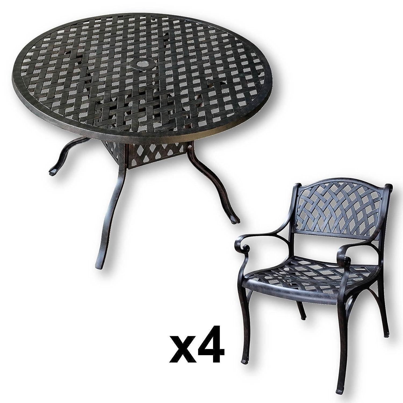 Lazy Susan - LISA 106 cm Runder Gartentisch mit 4 Stühlen ...