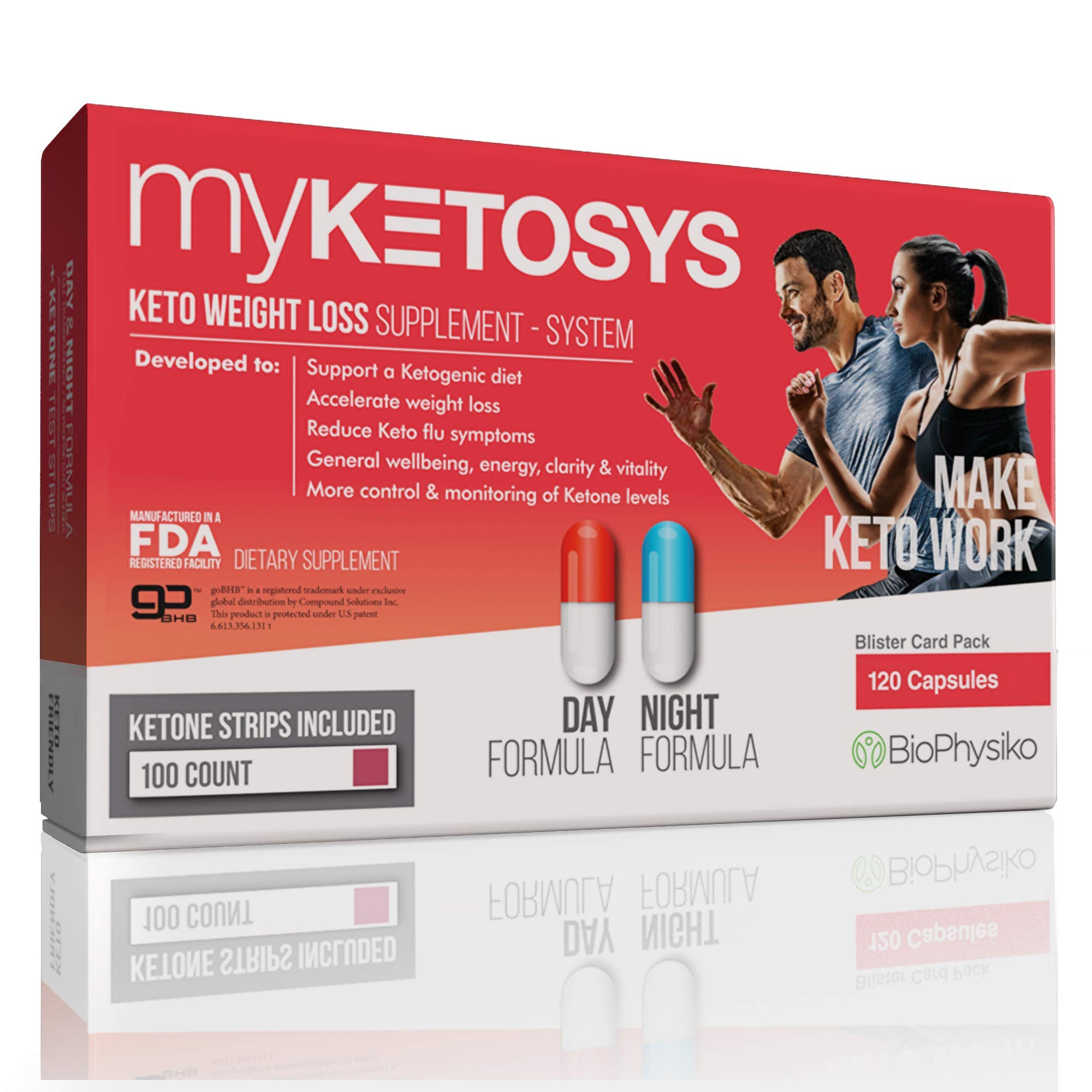MYKETOSYS | 2019 Best Keto Weight Loss Pills for Women & Men. The Only Day & Night Formula Keto Fat Burner Pills plus Ketone Strips. A Complete Keto Supplement for Ketosis with GoBHB Exogenous Ketones by MYKETOSYS