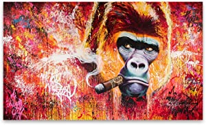 Wall Art ZXYFBH Wall Art Canvas Print Animal Painting Gorilla Smoking Cigar Picture for Living Room Home Decor 70x120cm DH0143