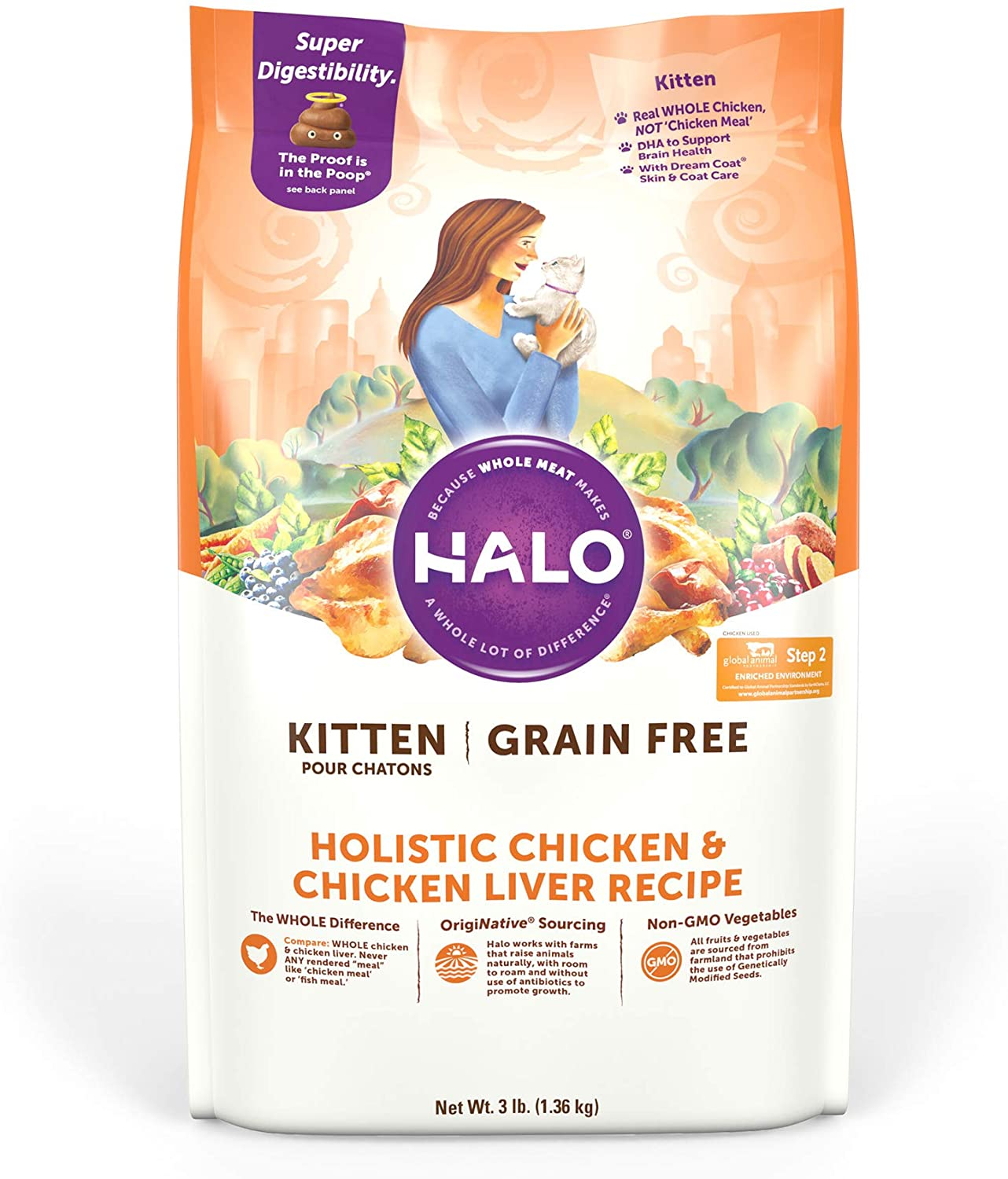Halo Grain Free Natural Dry Cat Food - Kitten Recipe - Premium and Holistic Chicken & Chicken Liver - 3 Pound Bag - Sustainably Sourced Dry Cat Food - Whole Meat, Highly Digestible, Non-GMO