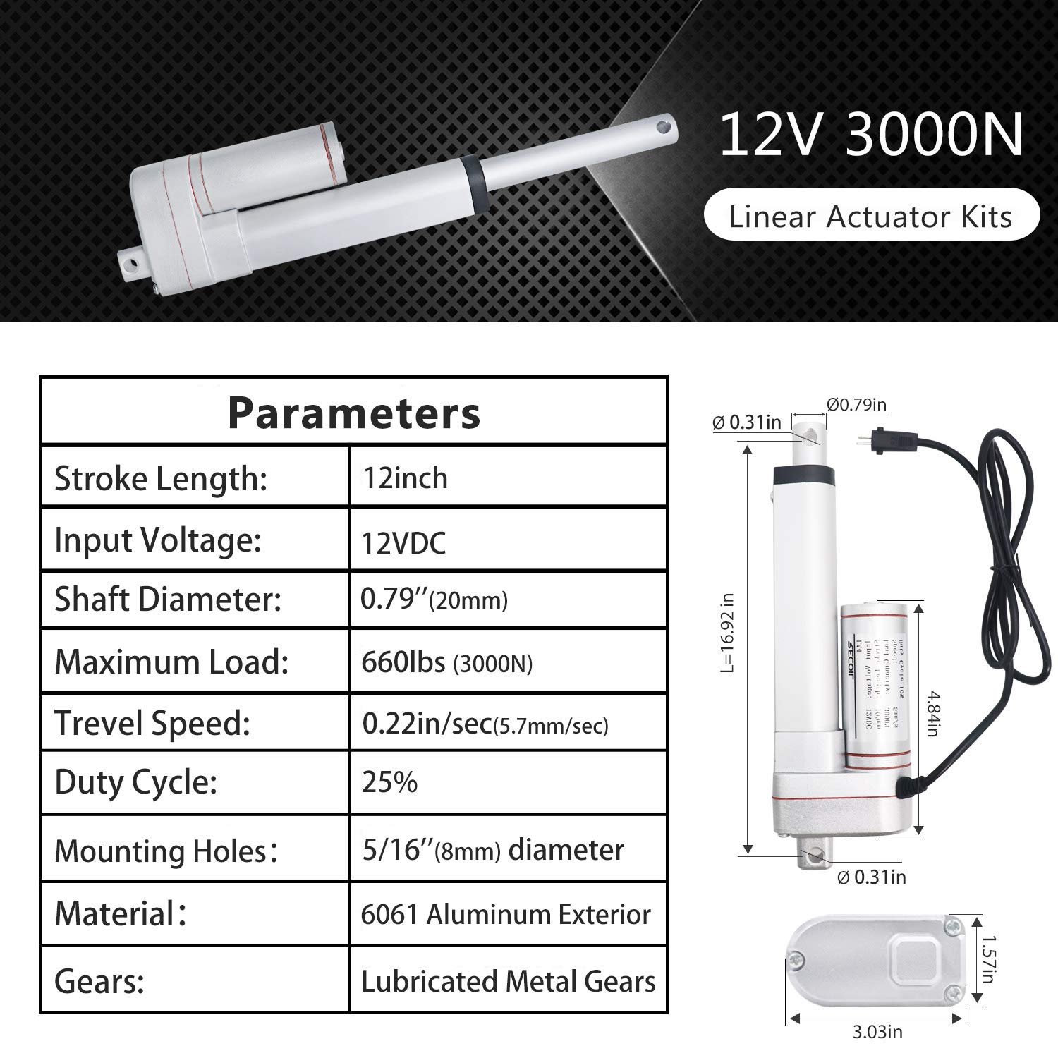 Recoil SLA12K Heavy Duty 3000N//660lbs Linear Actuator 12 Inch DC 12V with Mounting Brackets and Wireless Remote Controller Kit