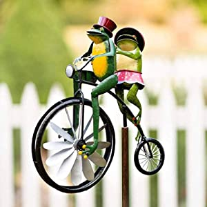 Kweilin Whirligigs and Wind Spinners - Frog Riding Bicycle Wind Spinner, Outdoor Pinwheels, Innovative Whirligigs and Wind Spinners, Sturdy Wind Sculptures & Spinners, Liven Up Your Garden - 25207cm