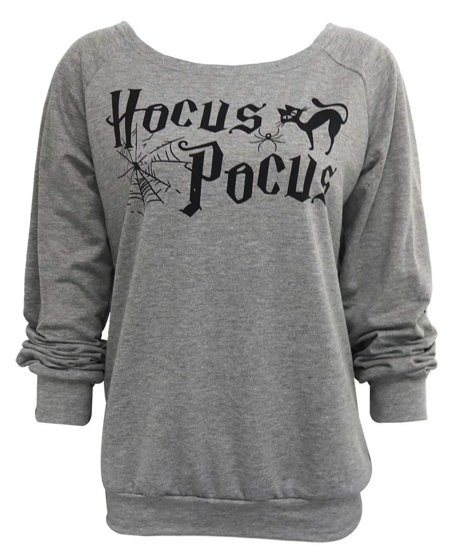 NANYUAYA Women Hocus Pocus Sweatshirt Halloween Long Sleeve Loose Pullover Tops
