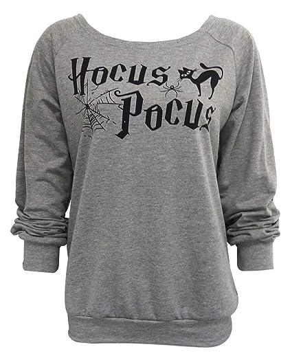 2ec58c940 DUTUT Hocus Pocus Sweatshirt Womens Halloween Long Sleeve Crewneck Loose  Pullover Tops Size S (Gray