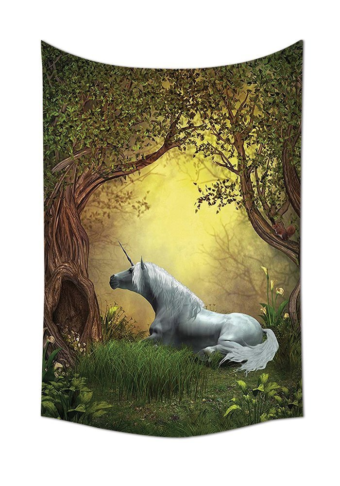 asddcdfdd Unicorn Tapestry Wall Hanging Enchanted Forest Fantasy Magical Willow Trees Wildflowers Woodland Animal Folklore Bedroom Living Room Dorm Decor Green White