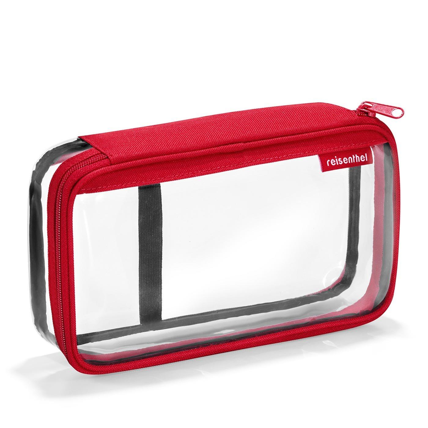 Neceser transparente con cremallera de color rojo elaborado en PVC y poliéster.
