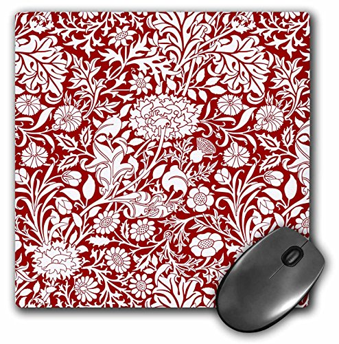 3dRose Russ Billington Patterns - William Morris Cherwell Chintz Pattern in Wine red and White - Mousepad (mp_219033_1)