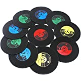 Coasters for Drinks,Vintage Vinyl Record,Vintage Vinyl Record Retro Mats,Vinyl Coasters & Place Mats Are Best Gift for Music Lovers(Set of 10)
