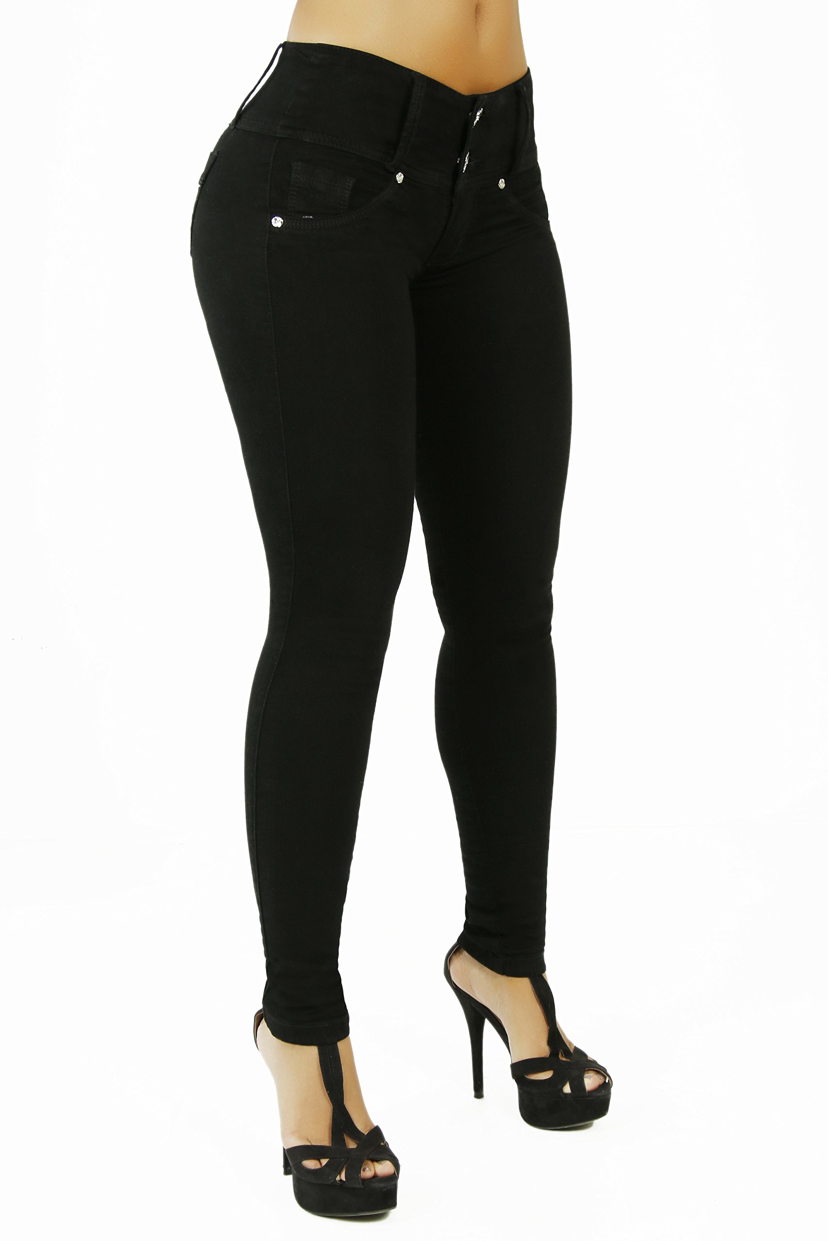 Curvify High Waisted Butt Lifting Slimming Jeans for Women - Skinny Stretch Jean 766(766, Black, 7) by Curvify (Image #3)