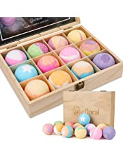 efloral 12pcs Bath Bombs Gift Set Retro Wooden Box   4.2oz Natural Fizzy Spa moisturizes dry skin   Mixed Color Large Organic Relaxation Bubble Bath