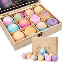 efloral 12pcs Bath Bombs Gift Set Retro Wooden Box | 4.2oz Natural Fizzy Spa moisturizes dry skin | Mixed Color Large Organic Relaxation Bubble Bath