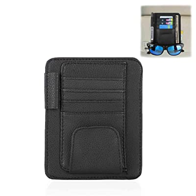 WINKA Visor Storage Auto Accessories Sunshade Sleeve Wallet PU Leather Storage Case with Glasses and Cards Organizer Clips Holder Black: Automotive