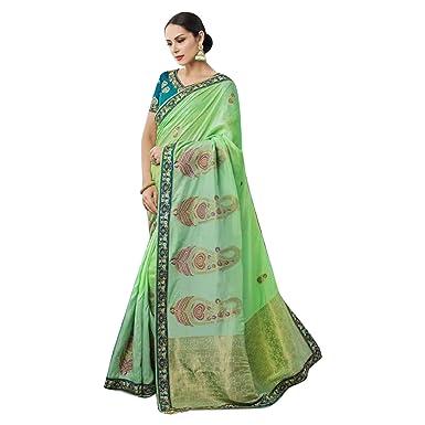 b2f25a23fb Amazon.com: Dolla Silk Handwork Wedding Zari Sari Indian Silk Blouse Formal  Muslim Women Black Friday 7294: Clothing