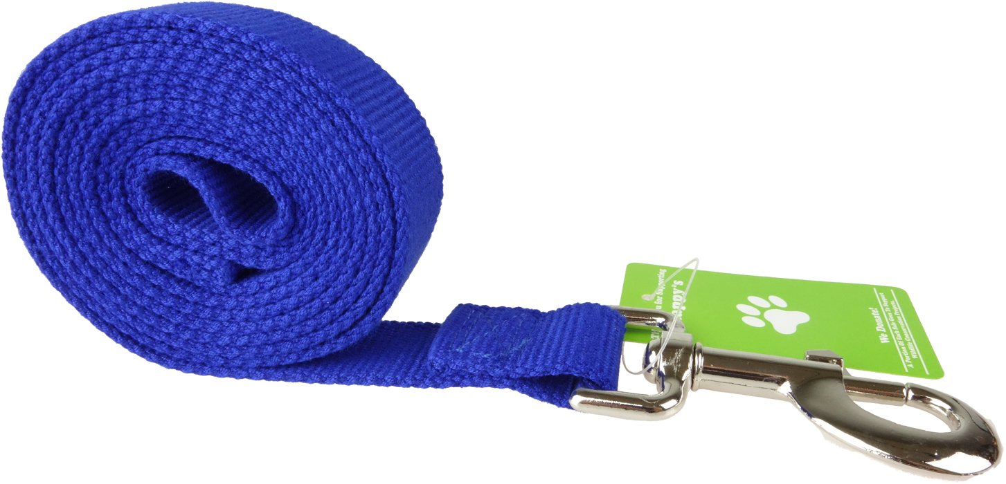 Happy's Pet Products Organic Bamboo Dog Leash, 6-Foot Long and 1-Inch Wide - Navy Blue