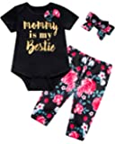 Baby Girl Clothes Mommy Is My Bestie Outfit Set Floral Pants with Headband