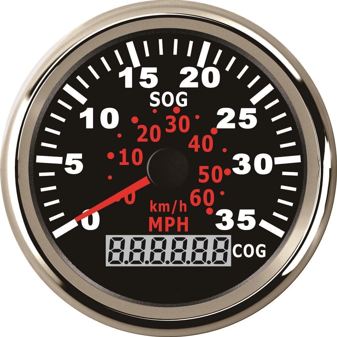 ELING Velocímetro GPS 0-35MPH 0-60km/h Indicador de velocidad con rumbo para embarcaciones de yates con retroiluminación 3-3/8 pulgadas (85mm) 12V/24V