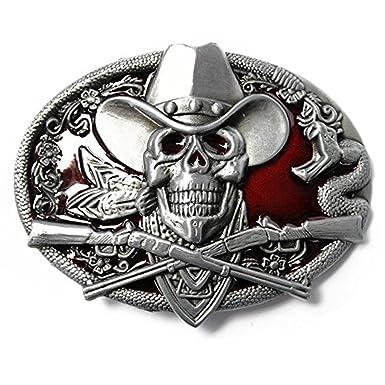 LKMY 3D Skull Belt Buckle For Men And Women American Indian Style Wizard Skull