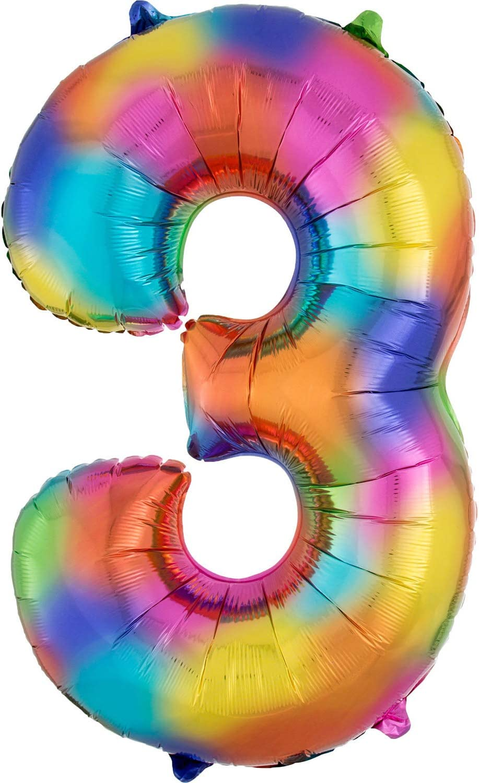 50 x 86 cm Rainbow Splash Folienballon SuperShape AMSCAN 3853301 Zahl 3