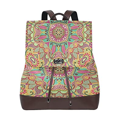 2e806b9f5153 Amazon.com: Women Genuine Leather Backpack Traditional Pattern Lady ...