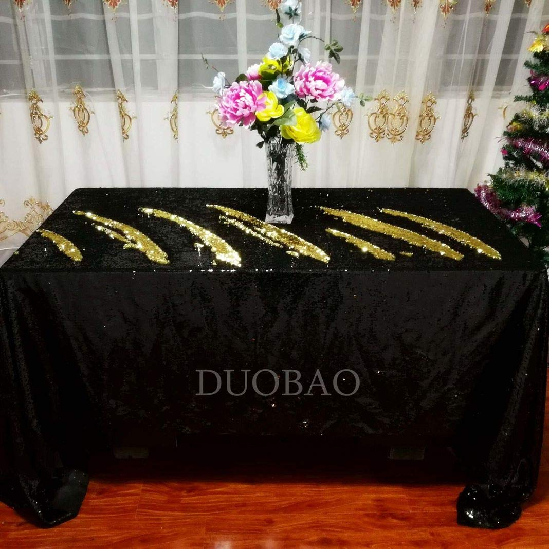 DUOBAO Sequin Tablecloth 60x84-Inch Gold Mermaid Sequin Fabric Black to Gold Glitter Tablecloth Reversible tablecloths for Rectangle Tables~0516 by DUOBAO (Image #2)