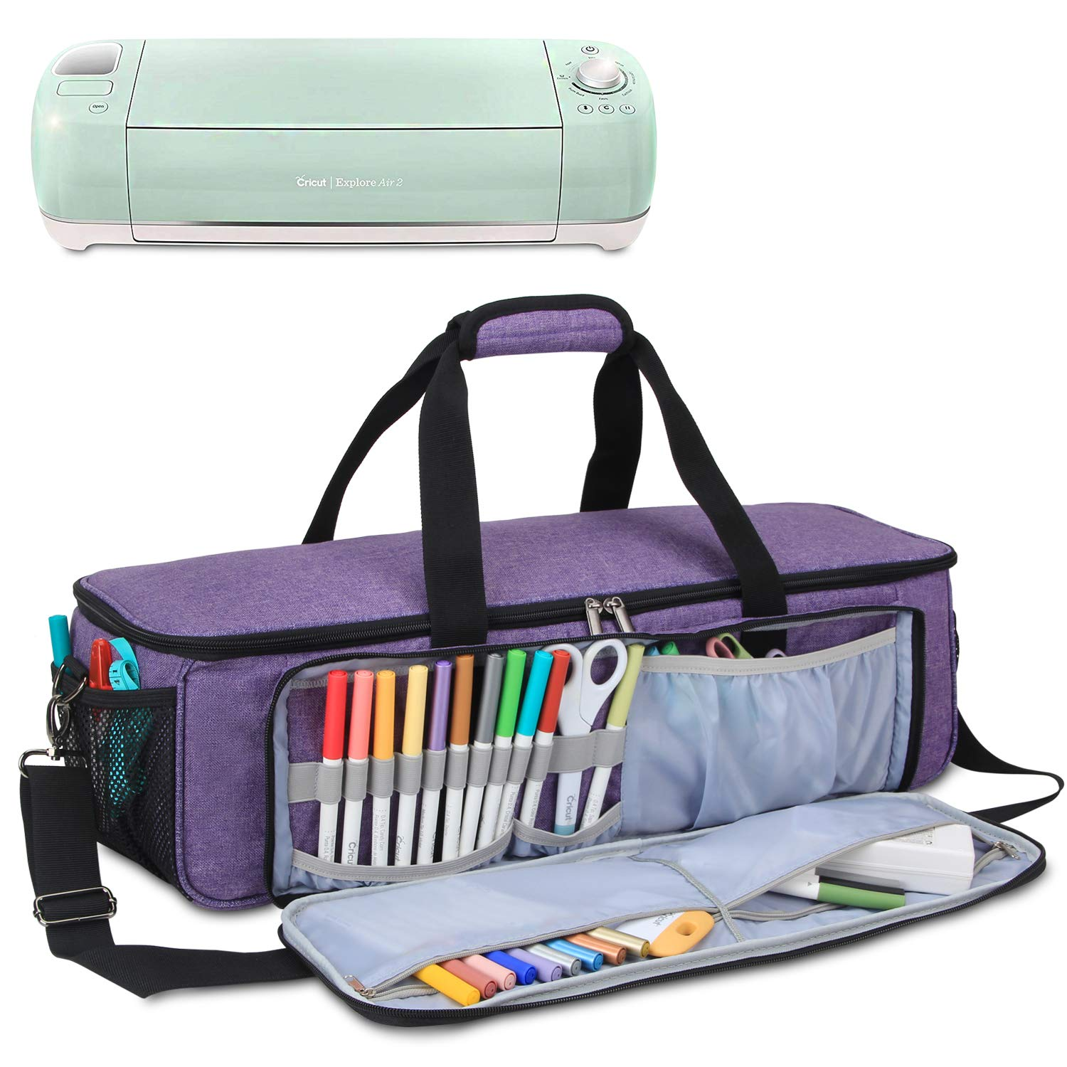 Yarwo Carrying Bag for Cricut Explore Air (Air 2), Cricut Maker Silhouette Cameo 3, Tote Bag Heavy Duty Nylon Travel Bag Compatible with Cricut Accessories Supplies, Bag Only, Purple