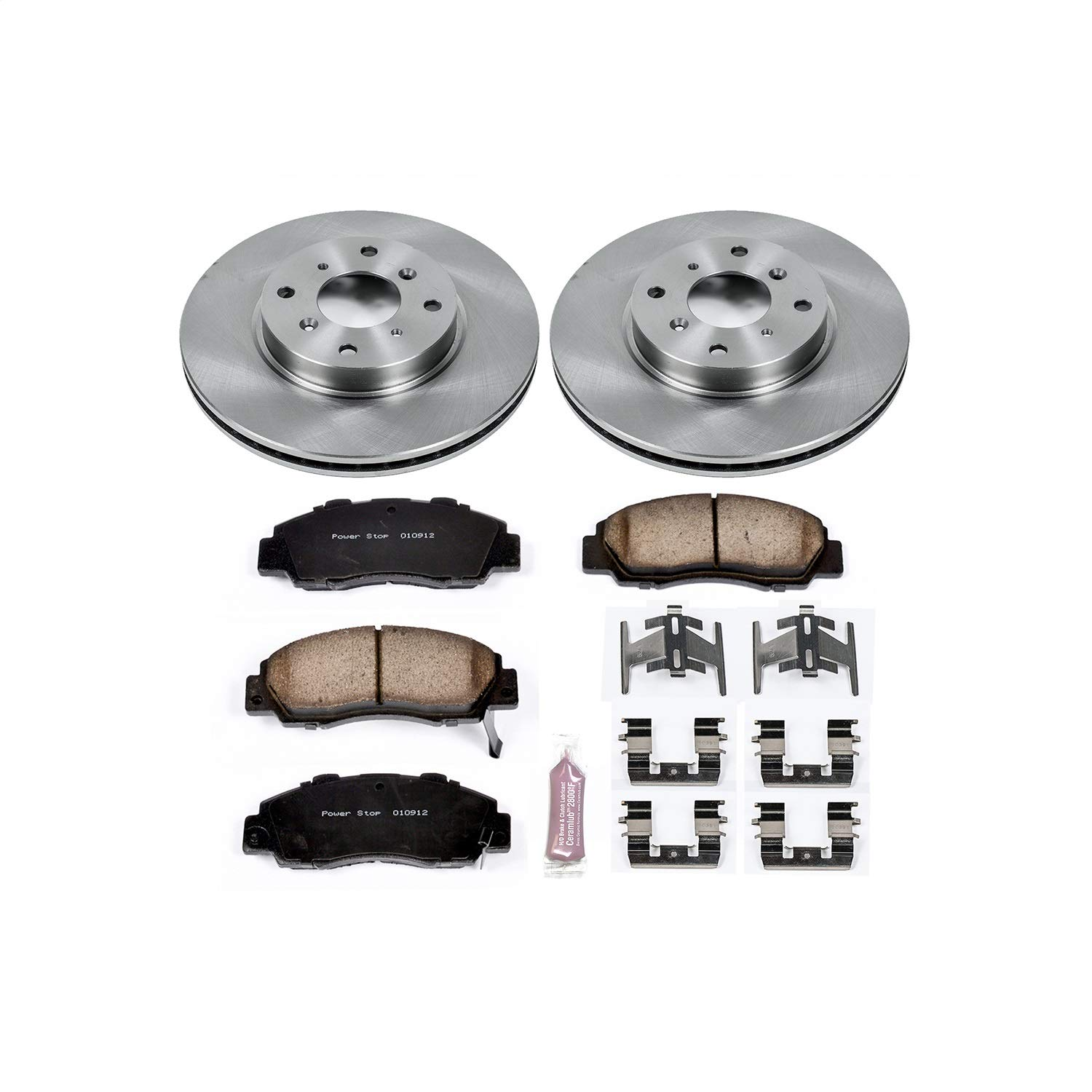 Power Stop KOE1037 Autospecialty By Power Stop 1-Click Daily Driver Brake Kits Front Incl. 11.09 in. OE Replacement Rotors w/Z16 Ceramic Scorched Brake Pads Autospecialty By Power Stop 1-Click Daily Driver Brake Kits