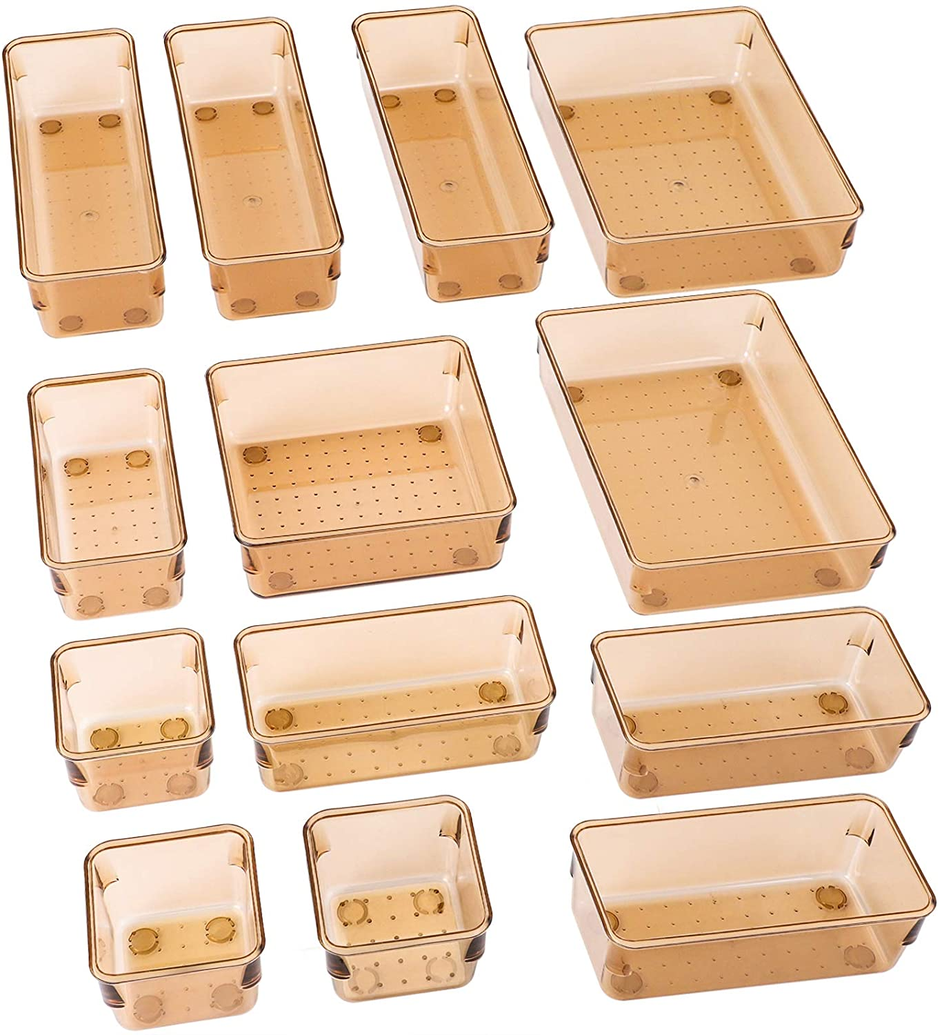 SMARTAKE 13-Piece Drawer Organizers with Non-Slip Silicone Pads, 5-Size Desk Drawer Organizer Trays Storage Tray for Makeup, Jewelries, Utensils in Bedroom Dresser, Office and Kitchen, Brown