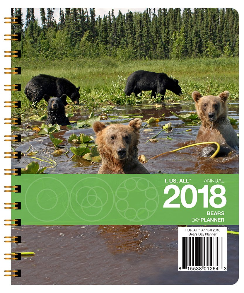 I, Us, All Annual 2018 Bears Day Planner Medium (7 x 8.5 inches) Weekly & Monthly Organizer, Appointment Schedule, Goals and Notes