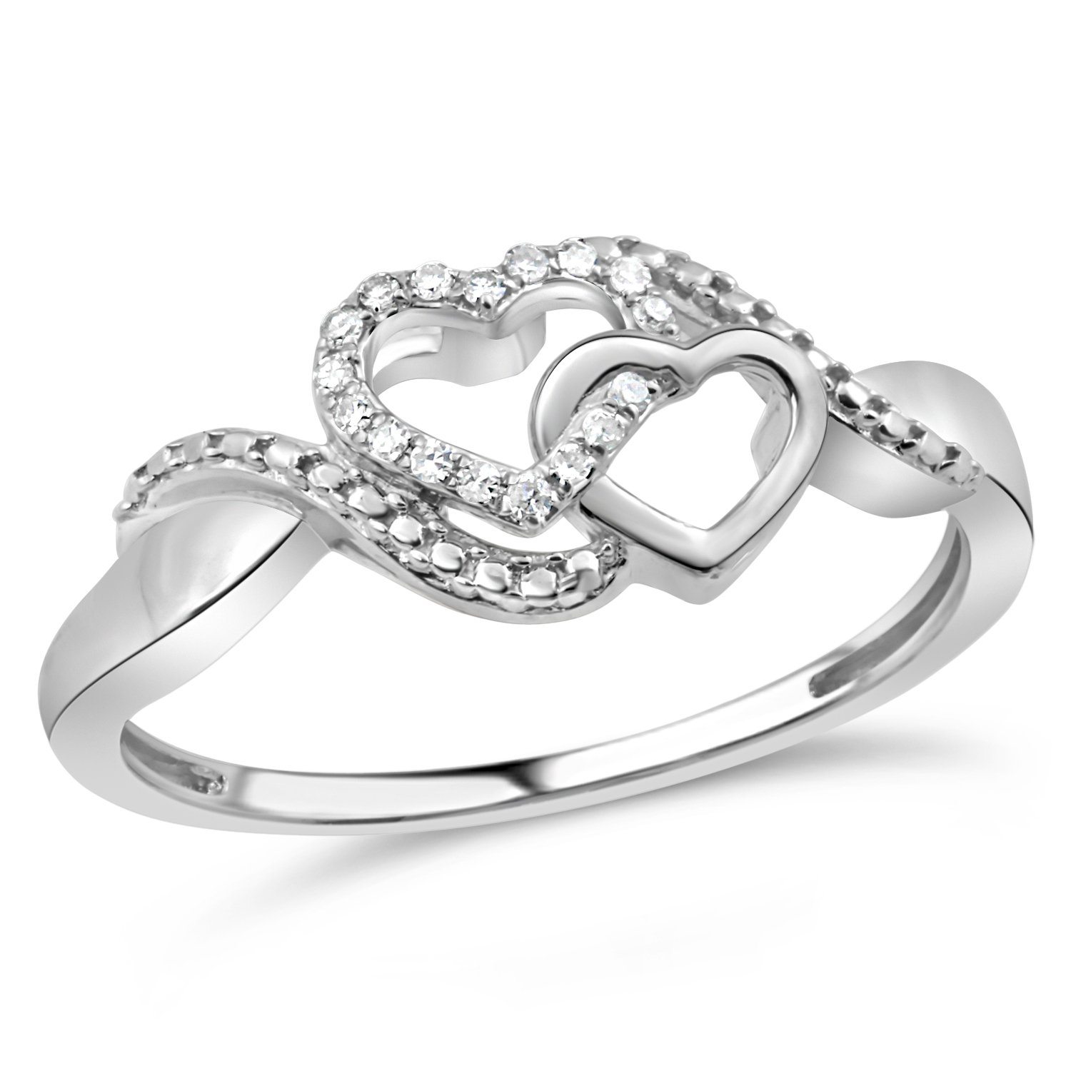 Diamond Promise Ring in Rhodium Plated Sterling Silver 1/20 cttw