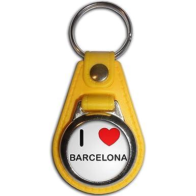 I Love Barcelona - Llavero medallón de plástico amarillo ...