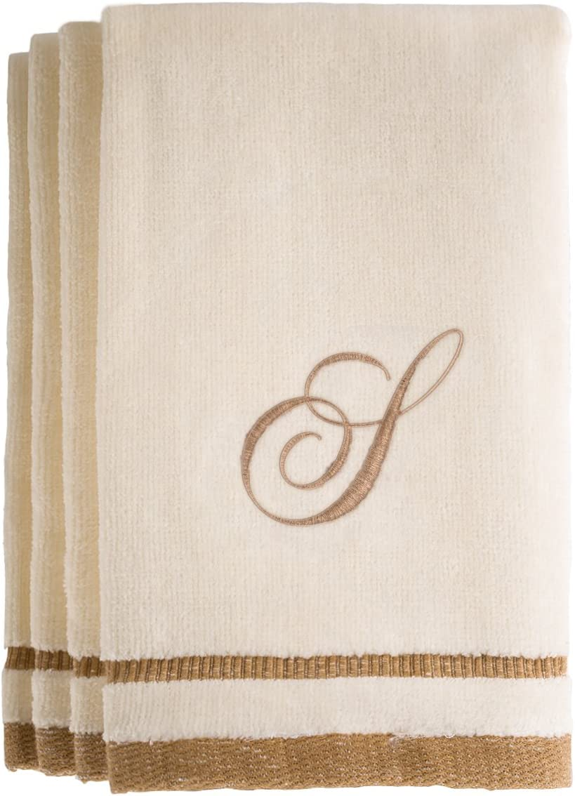 Ivory Fingertip Towels 11 x 18 Inches Extra Absorbent 100/% Cotton- Personalized Gift- for Bathroom//Kitchen- Initial C Monogrammed Gifts Set of 4- Decorative Golden Brown Embroidered Towel