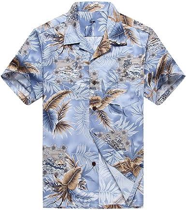 Hombres Aloha Camisa Hawaiana en Hoja Azul y Gris: Amazon.es: Ropa y accesorios