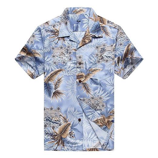 6fd5c6d0709 Men s Hawaiian Shirt Aloha Shirt S Blue with Grey Leaf at Amazon ...