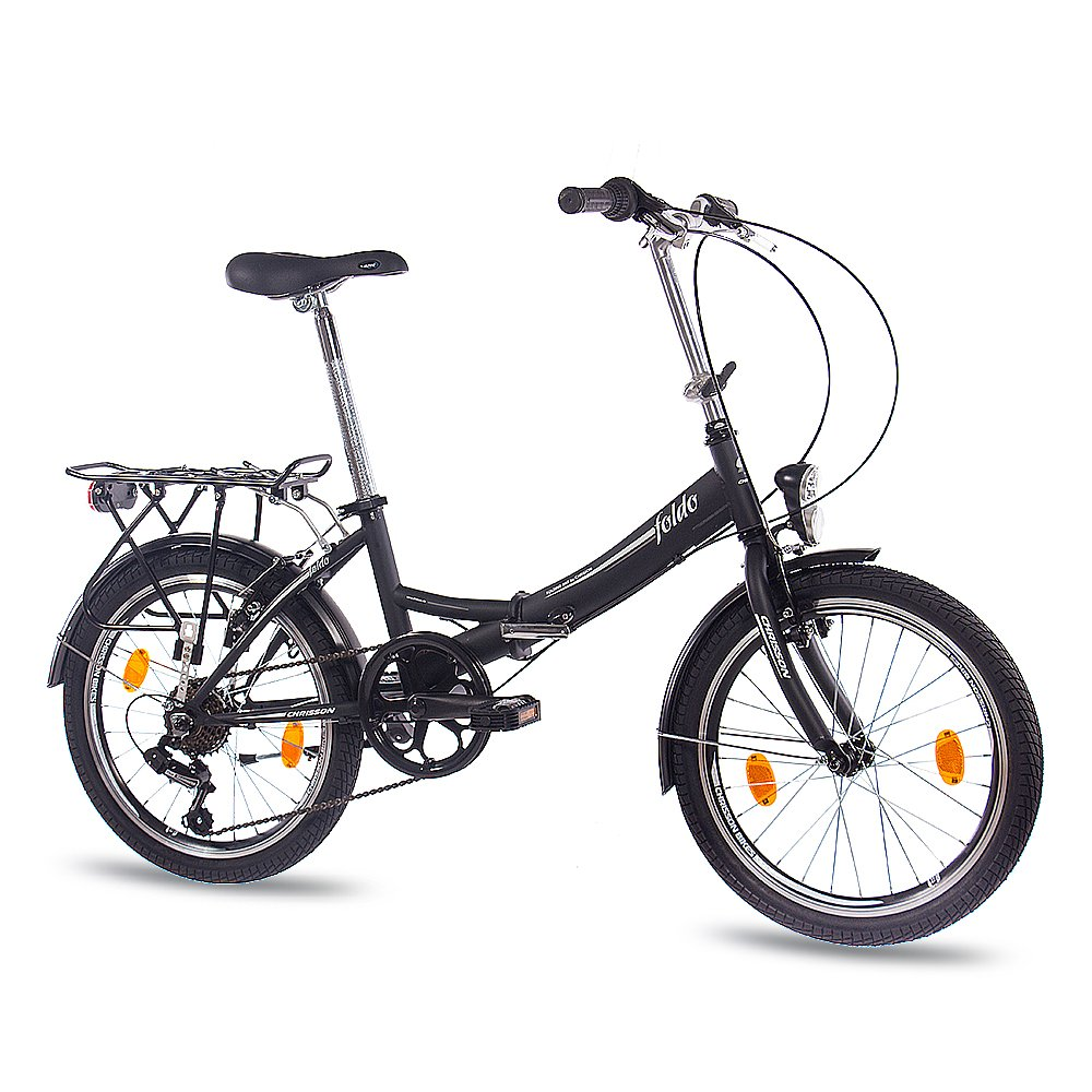 50.8 cm pulgadas bicicleta plegable bicicleta CHRISSON FOLDO con{6} cambio Shimano negro mate: Amazon.es: Deportes y aire libre