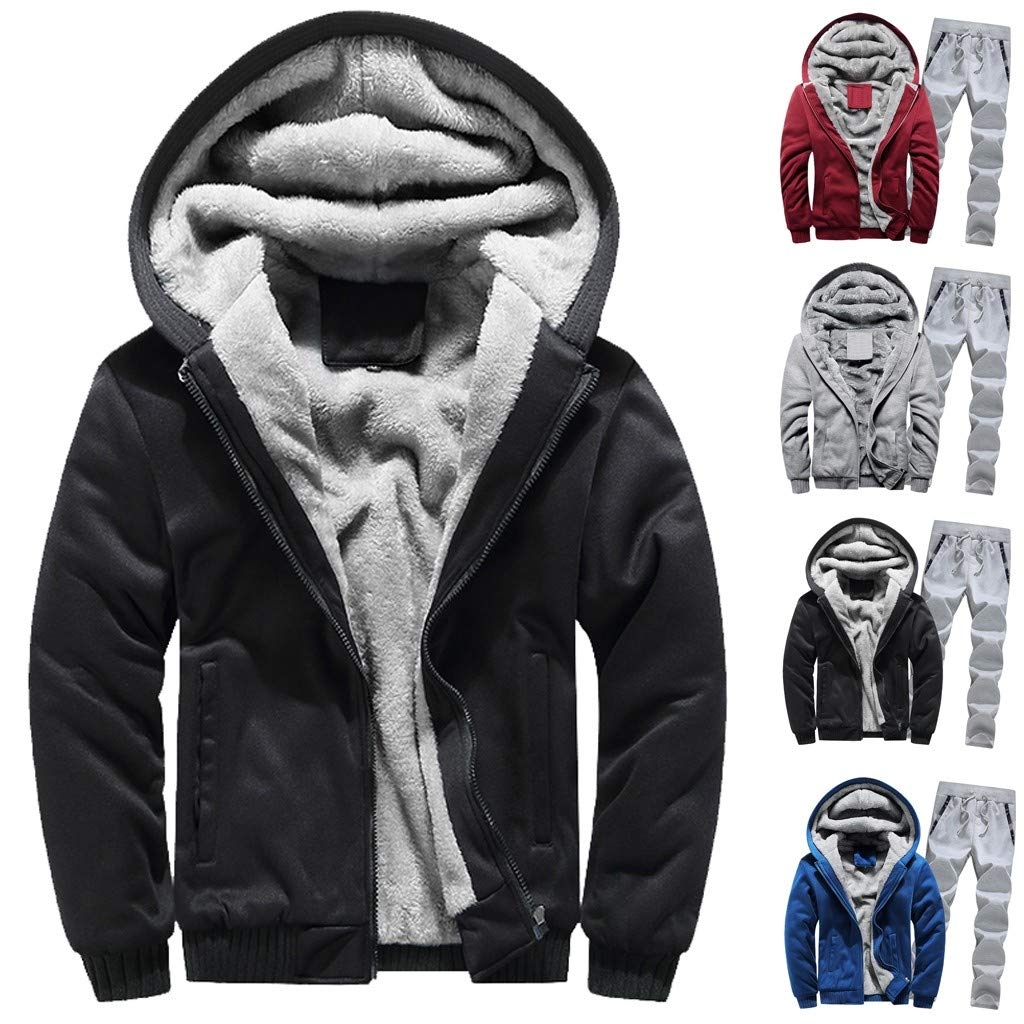 Toponly Mens Athletic Tracksuit Set Warm Running Jogging Sportwear Sweat Suit