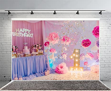 Yeele 8x6ft Baby Girls 1st Birthday Party Photo Backdrops Vinyl Sweet Cute Cake Smash Rose Flowers Photography Background Decoration Kid Baby Digital