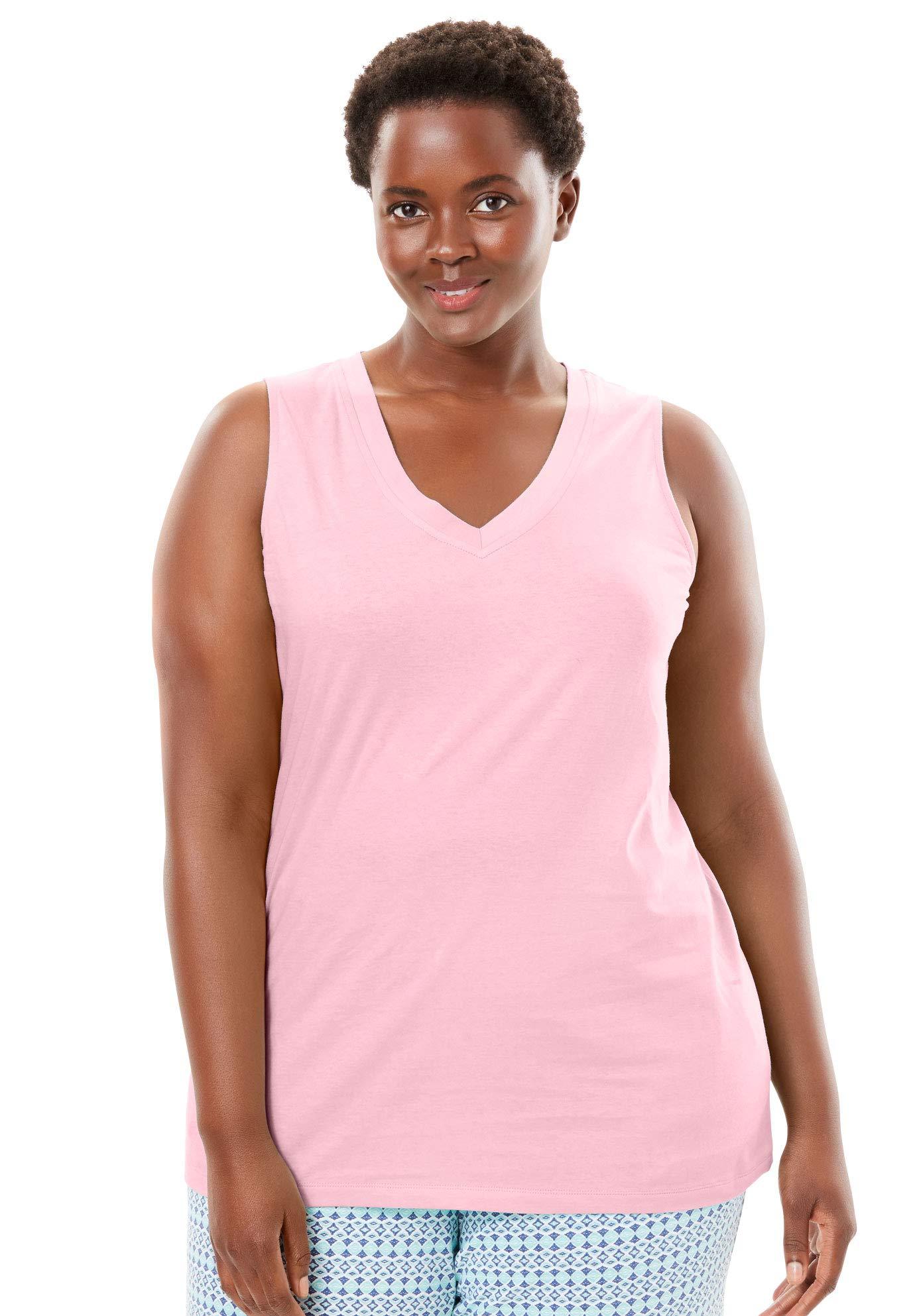 Dreams & Co. Women's Plus Size Cotton Sleep Tank