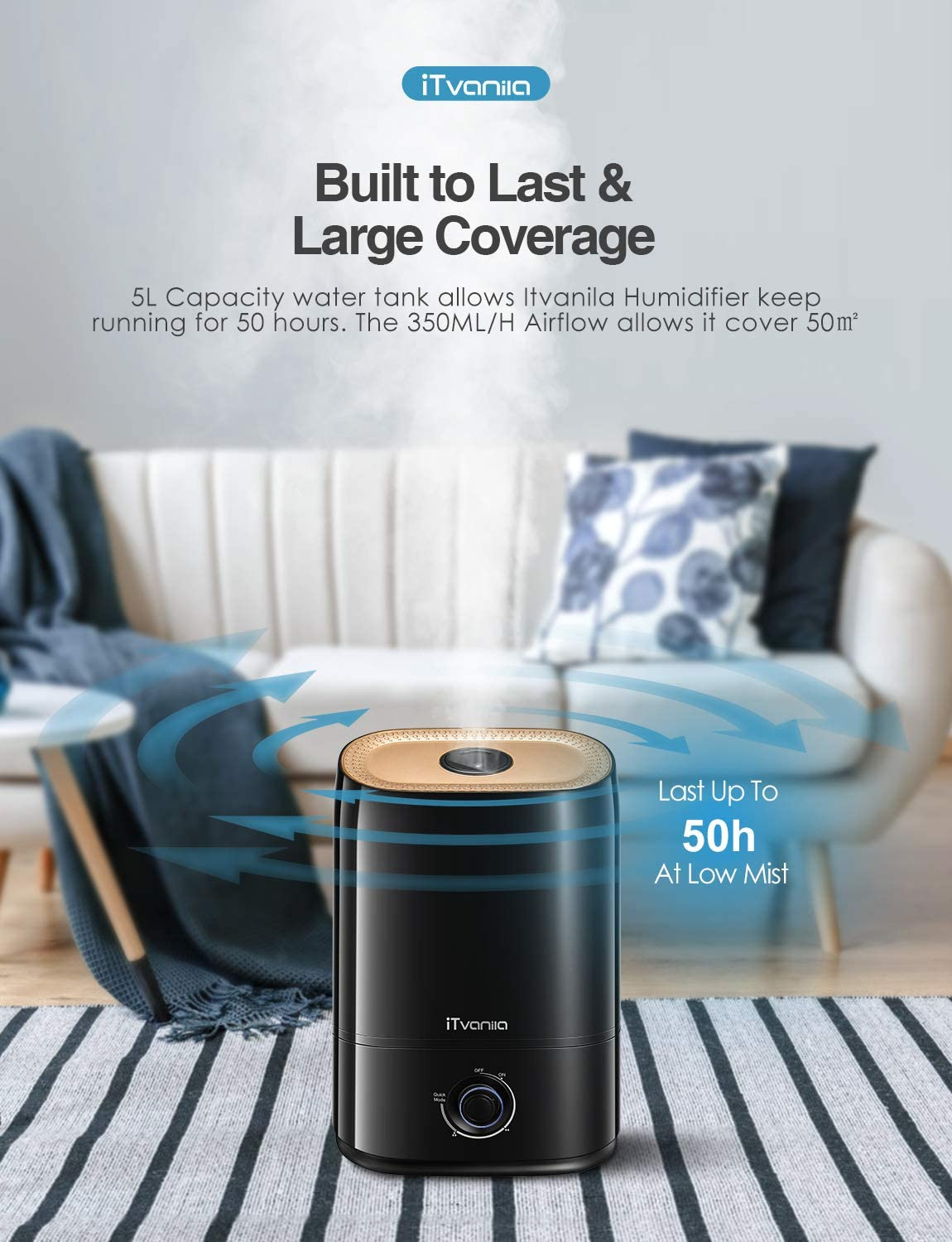 iTvanila Cool Mist Humidifiers, 5L Humidifier for Bedroom Large Room, Nano Coating, 360° Nozzle, Ultra Quiet, Auto Shut Off, Easy to Clean, High