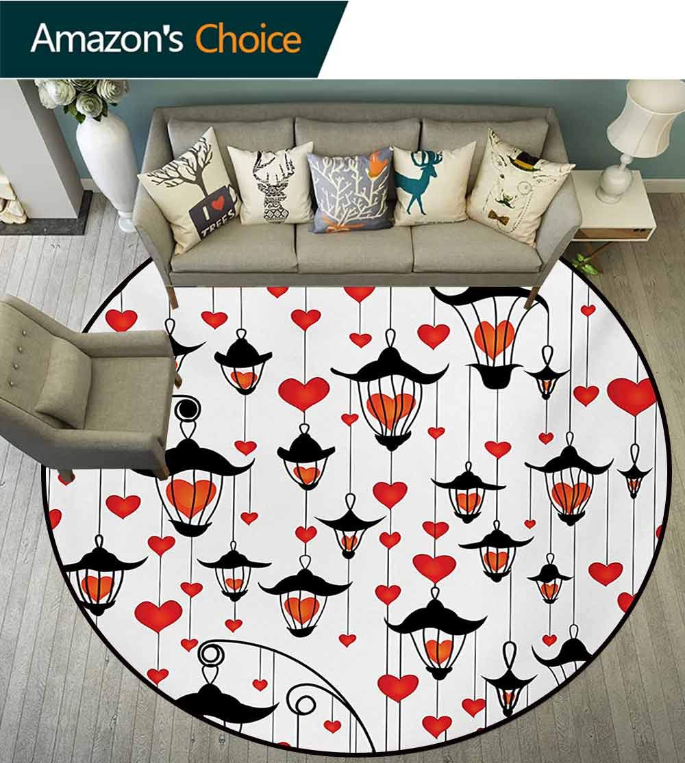 RUGSMAT Love Modern Washable Round Bath Mat,Lanterns and Heart for Valentines Day Small Lamp Classic Antique Non-Slip Bathroom Soft Floor Mat Home Decor,Round-71 Inch Vermillion Scarlet White Black by RUGSMAT (Image #2)
