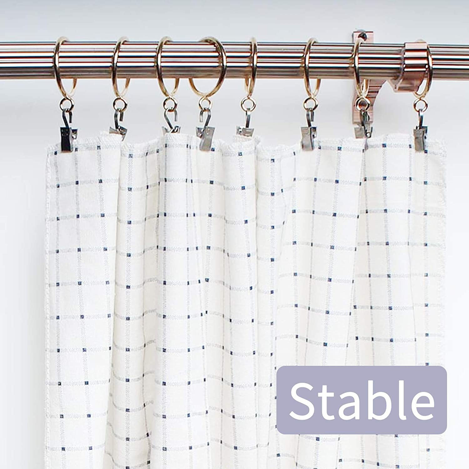 HEIGOO 10 PCS Curtain Rings,38mm Golden Removable Curtain Pole Rings,Curtain Hoops and Hooks,in Kitchen Bathroom