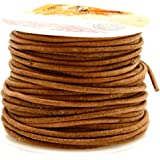 Mandala Crafts 1mm 2mm 3mm 20 Yards Natural Round Leather String Cord Rope Spool for Necklace Bracelet Jewelry Making (2mm, Rust)