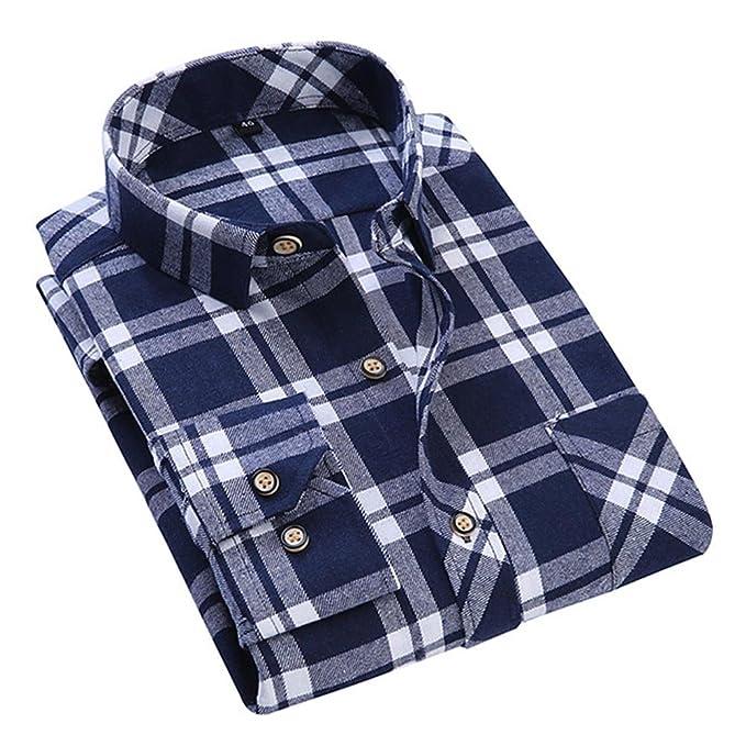 Hibote Hombres Largo Manga Algodón Camisa tartán Franela Camisa de Los Hombres Casual Swetshirt Tops Blusa