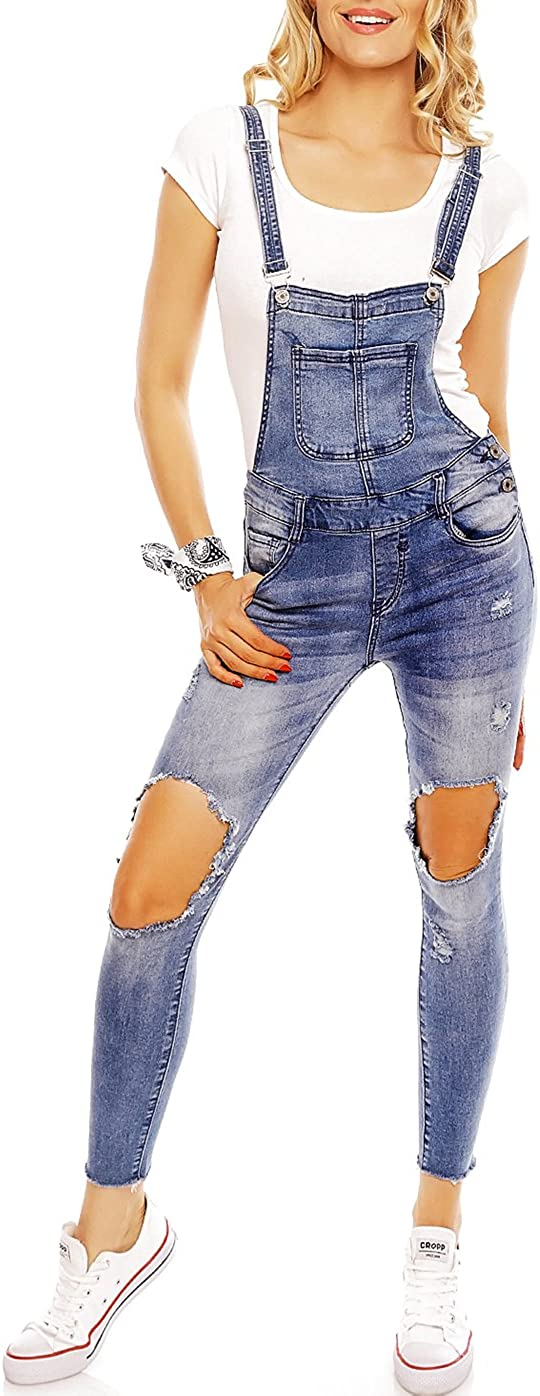 Latzhose Jeans Worker Denim Damen Jeans Mega Destroyed Look Hellblau